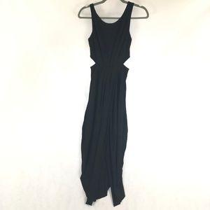 Lulus Black Peek a Boo Maxi Dress Cutout Size XS